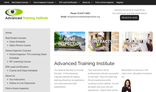 Example of Education website by RocklandWeb | Advanced Training Institute