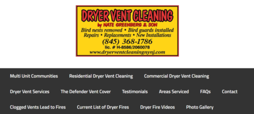 Example of Business website by RocklandWeb | Dryer Vent Cleaning