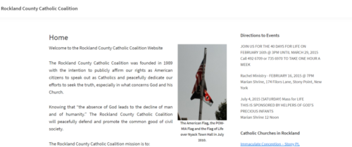 Example of Charity website by RocklandWeb | Rockland County Catholic Coalition