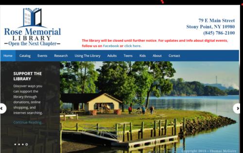 Example of Social website by RocklandWeb | Rose Memorial Library