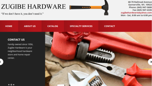 Example of Business website by RocklandWeb | Zugible Hardware